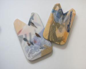 2 panels of resin artwork