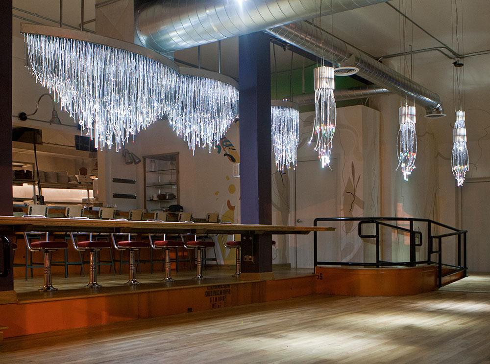 Fiberoptic chandelier sabin aell artist and designer fiberopric chandelier out of reclaimed materials mozeypictures Images