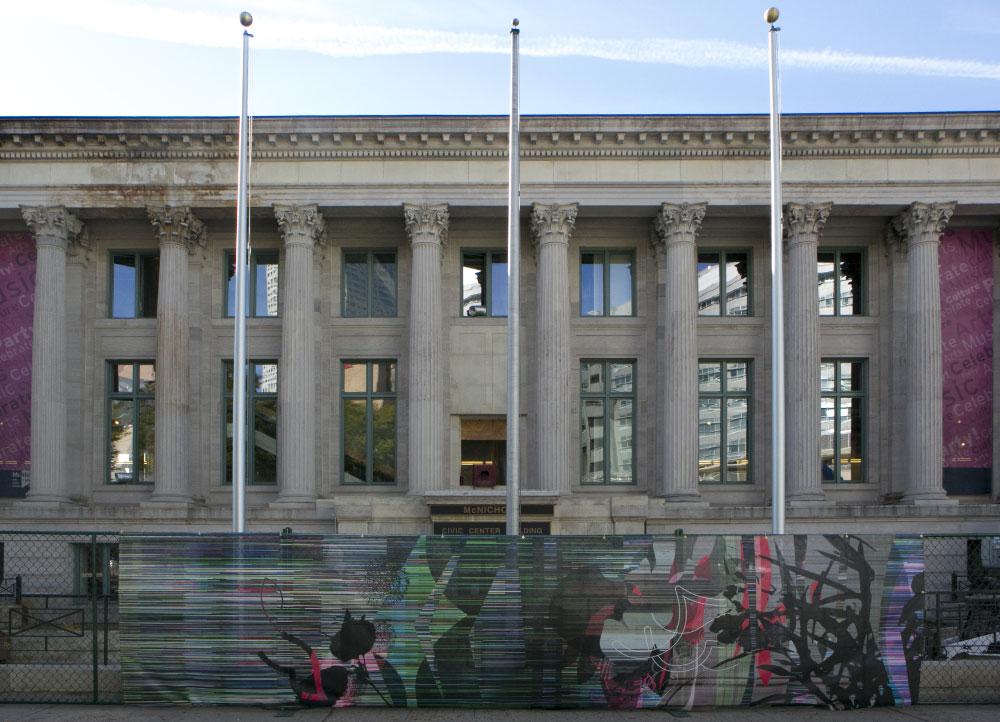 mcnichols-civic-center-building-denver-mesh-fence-installation-denver